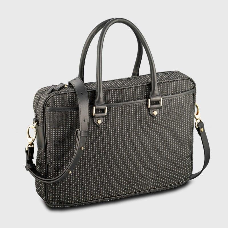 briefcase-woman-gold-black-