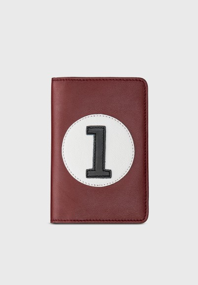 Burgundy leather wallet and...
