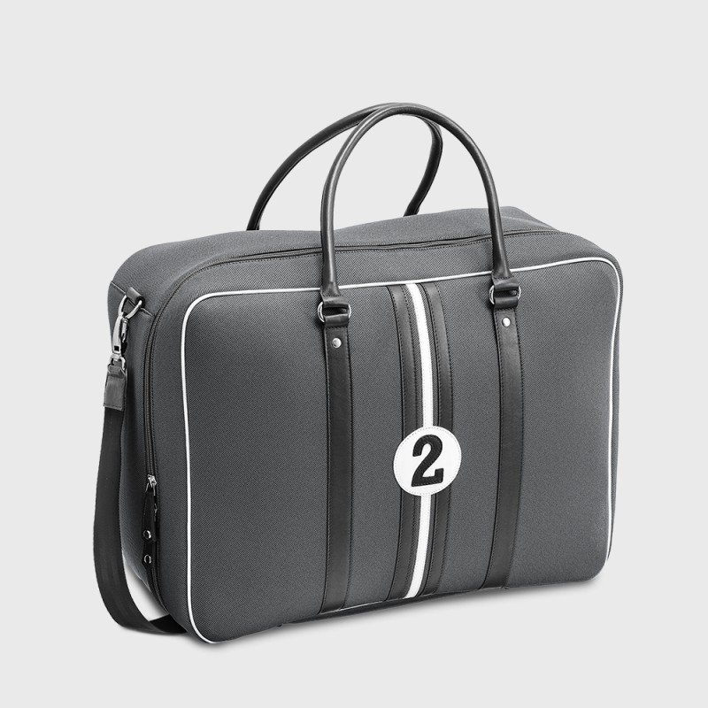 Grey carry on bag in canvas and leather Andrew NBN2