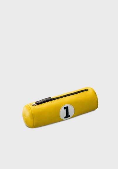 Pencil case in yellow leather