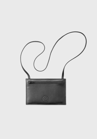 Black leather travel pouch