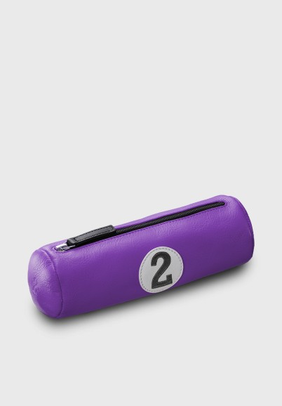 Pencil case in purple leather