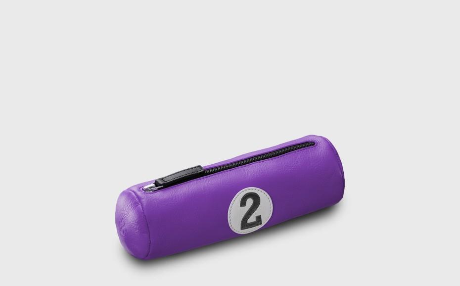 Trousse école cuir violet