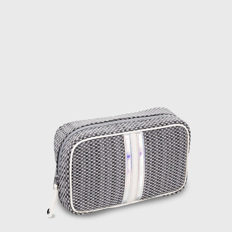 Traveling Wash bag for woman silver and white