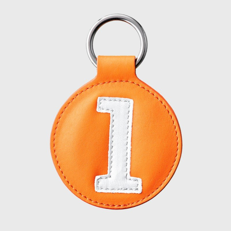 porte cles upcycle orange blanc